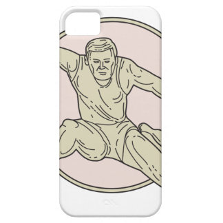 Track and Field Athlete Hurdle Circle Mono Line iPhone 5 Covers
