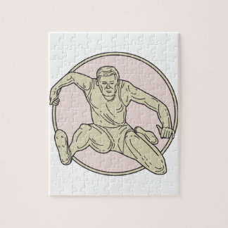 Track and Field Athlete Hurdle Circle Mono Line Jigsaw Puzzle