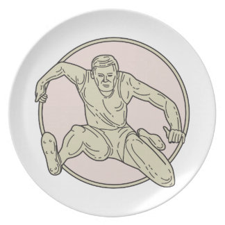 Track and Field Athlete Hurdle Circle Mono Line Party Plates