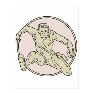 Track and Field Athlete Hurdle Circle Mono Line Postcard