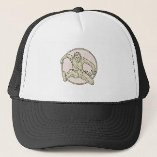 Track and Field Athlete Hurdle Circle Mono Line Trucker Hat