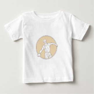 Track and Field Discus Thrower Circle Mono Line Baby T-Shirt