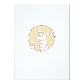Track and Field Discus Thrower Circle Mono Line Card