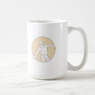 Track and Field Discus Thrower Circle Mono Line Coffee Mug