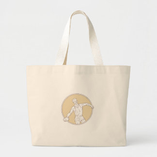 Track and Field Discus Thrower Circle Mono Line Large Tote Bag