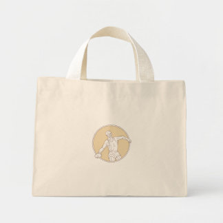 Track and Field Discus Thrower Circle Mono Line Mini Tote Bag