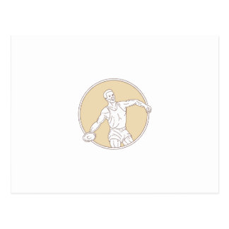 Track and Field Discus Thrower Circle Mono Line Postcard