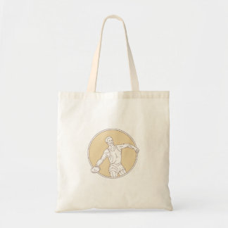 Track and Field Discus Thrower Circle Mono Line Tote Bag