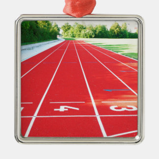 Track and Field - Runner Print Silver-Colored Square Ornament