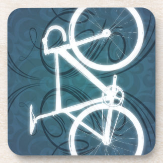 Track Bike - blue tattoo style Coaster