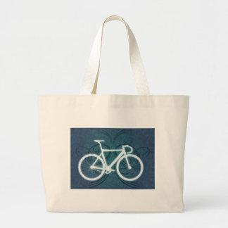 Track Bike - blue tattoo style Large Tote Bag