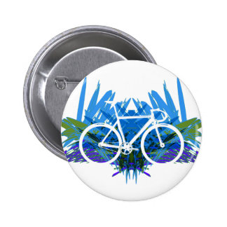 Track Bike on Blue/green 2 Inch Round Button