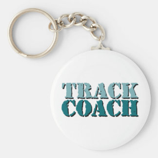 Track Coach teal Basic Round Button Keychain