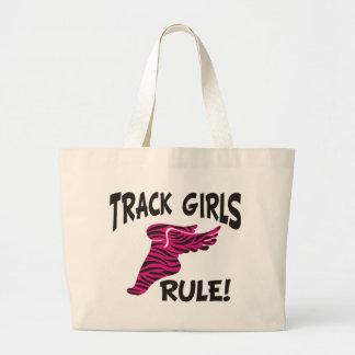 TRACK GIRLS BLACK ON HOT PINK LARGE TOTE BAG
