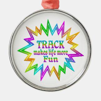 Track More Fun Metal Ornament