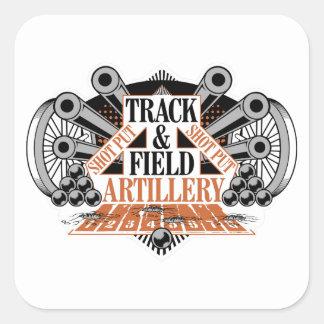 track n field artillery square sticker