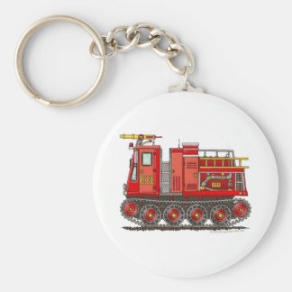 Track Rescue Pumper Fire Truck Firefighter Basic Round Button Keychain