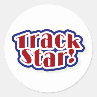 Track Star Round Sticker