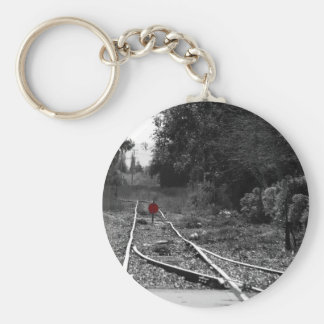 Tracks to nowhere basic round button keychain
