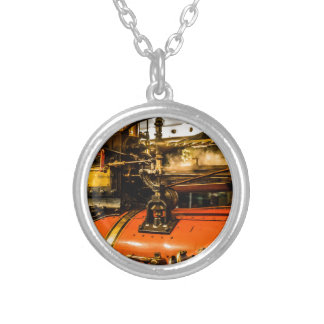 Traction Engine Silver Plated Necklace