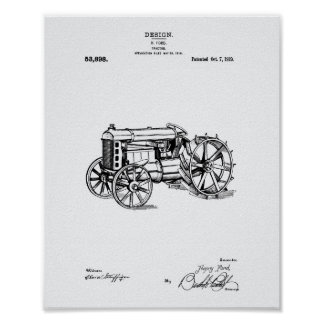 Tractor 1919 Patent Art White Paper Poster