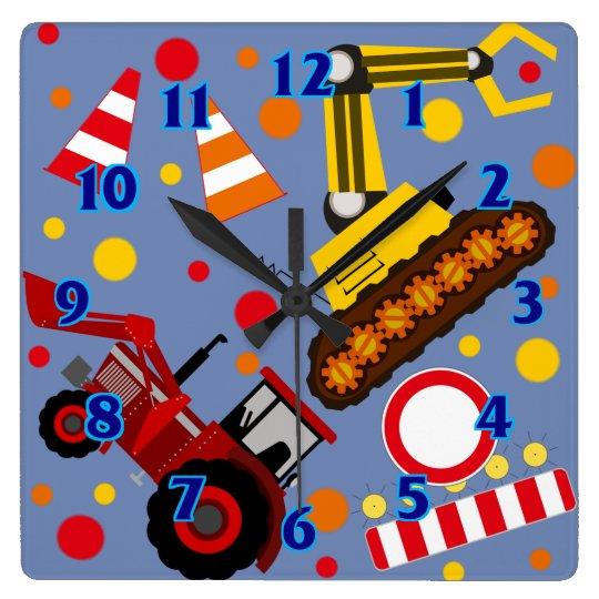 Tractor and bulldozer polka dot boy kids room clocks