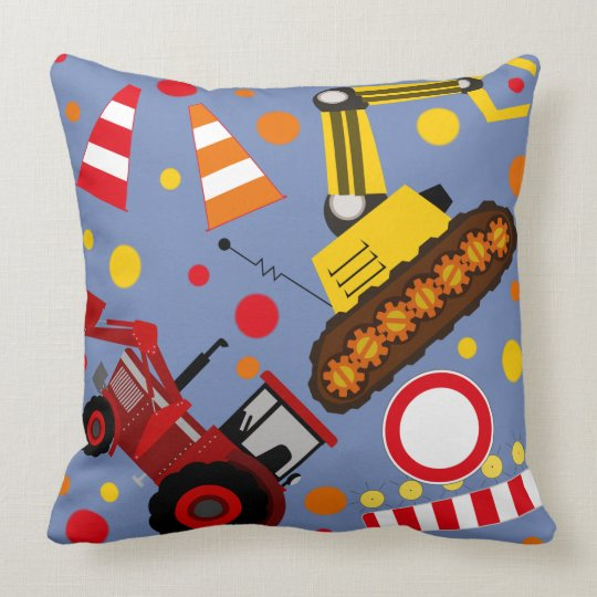 Tractor and bulldozer polka dot kids room nursery throw pillow