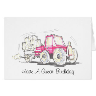 Tractor and Trailer Have A Great Birthday Card