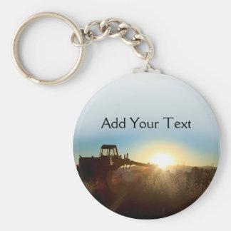Tractor at Sunrise Keychain