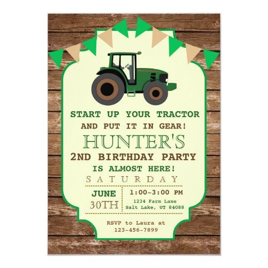 Tractor Birthday Invitation Farm Birthday Card Zazzle Ca