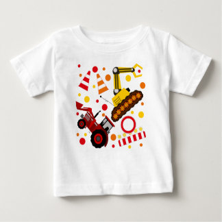 Tractor bulldozer construction polka dot baby T-Shirt