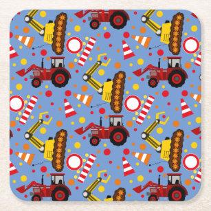 Tractor bulldozer construction polka dot square paper coaster