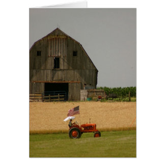 Tractor Card: Tractor, American Flag & Barn Card