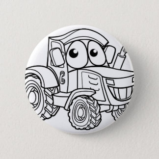 Tractor Cartoon Character 2 Inch Round Button