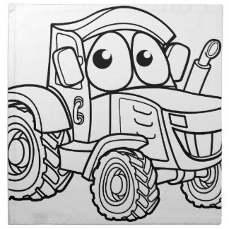 Tractor Cartoon Character Napkin