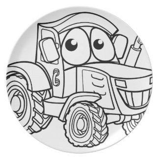 Tractor Cartoon Character Plate