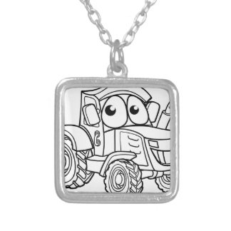 Tractor Cartoon Character Silver Plated Necklace