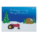 Tractor Christmas Card: Red Tractor Barn Scene Greeting Card
