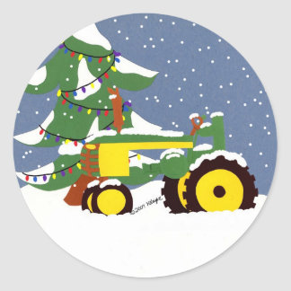 Tractor Envelope Seal Christmas Sticker