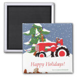 Tractor for Christmas Magnets