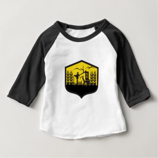 Tractor Harvesting Wheat Farm Crest Retro Baby T-Shirt