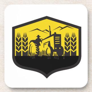 Tractor Harvesting Wheat Farm Crest Retro Beverage Coasters