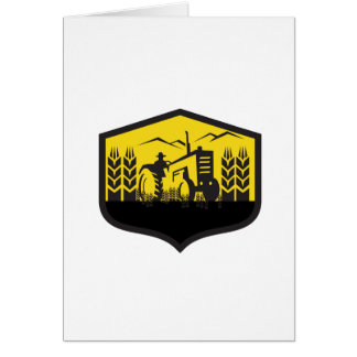 Tractor Harvesting Wheat Farm Crest Retro Card