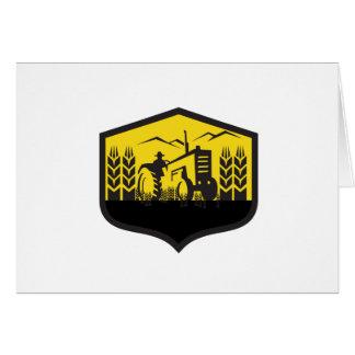 Tractor Harvesting Wheat Farm Crest Retro Card