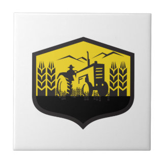 Tractor Harvesting Wheat Farm Crest Retro Ceramic Tiles