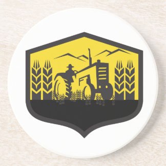 Tractor Harvesting Wheat Farm Crest Retro Coaster