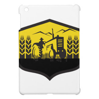 Tractor Harvesting Wheat Farm Crest Retro iPad Mini Covers