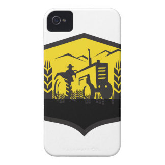 Tractor Harvesting Wheat Farm Crest Retro iPhone 4 Cases
