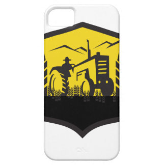 Tractor Harvesting Wheat Farm Crest Retro iPhone 5 Case