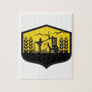 Tractor Harvesting Wheat Farm Crest Retro Jigsaw Puzzle